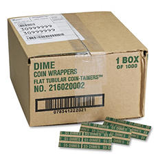 Coin-Tainer Company Pop-Open Flat Paper Coin Wrappers - Dimes - 1,000 ct.