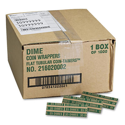 MMF Industries Pop-Open Flat Paper Coin Wrappers - Dimes - 1,000 ct.