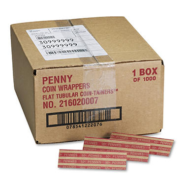 MMF Industries Pop-Open Flat Paper Coin Wrappers - Pennies - 1,000 ct.