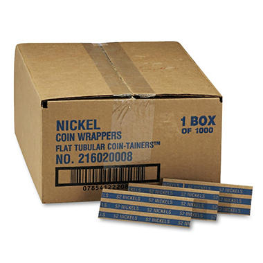 MMF Industries Pop-Open Flat Paper Coin Wrappers - Nickels - 1,000 ct.