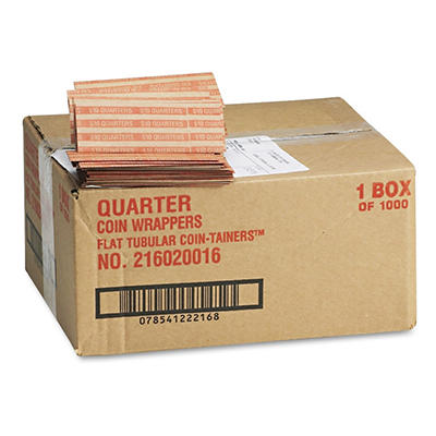 MMF Industries Pop-Open Flat Paper Coin Wrappers - Quarters - 1,000 ct.