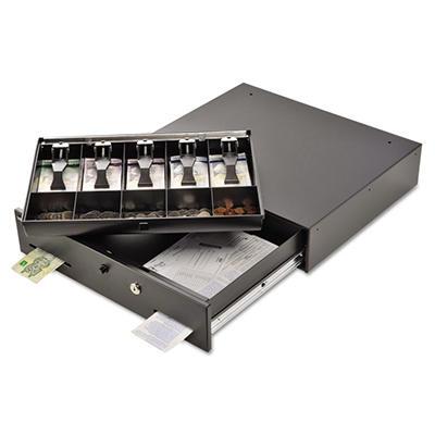 SteelMaster Alarm Alert Steel Cash Drawer with Deadbolt/Push-Button Release Lock - Black