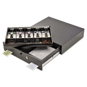 SteelMaster Alarm Alert Steel Cash Drawer with Deadbolt/Push-Button Release Lock - Black
