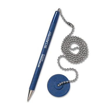 MMF Industries - Secure-A-Pen Ballpoint Counter Pen with Base, Blue Ink - Medium