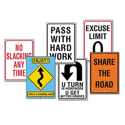 "TREND - Assorted ""Life Signs"" Themed Motivational Prints, 13 3/8 x 19 -  6/Pack"