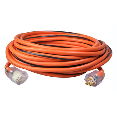 12/3 SJTW 50' Cord - Orange with Black Stripe Lighted Receptacle