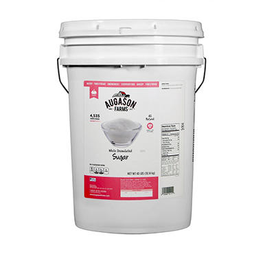 Augason Farms White Granulated Sugar Pail - 40 lbs.