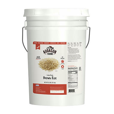 Augason Farms Long Grain Brown Rice Pail - 42 lbs.