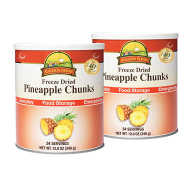 Augason Farms Freeze-Dried Pineapple Chunks - 2 pk.