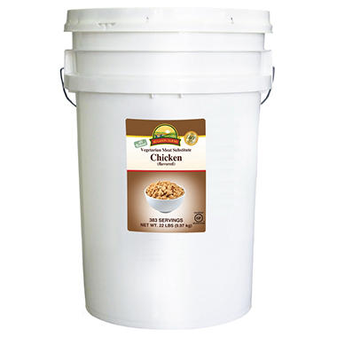 Augason Farms Vegetarian Meat Substitute Chicken Pail - 22 lbs.