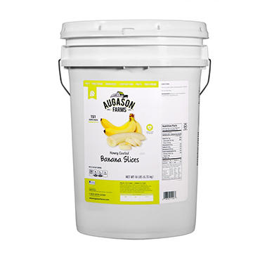 Augason Farms Honey-Coated Banana Slices Pail - 14 lbs.