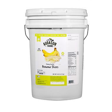 Augason Farms Honey-Coated Banana Slices (14 lb. pail)