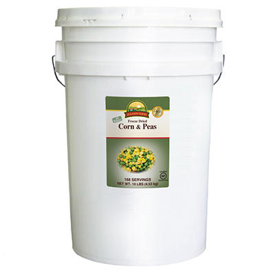 Augason Farms Freeze Dried Corn and Peas Pail - 10 lbs.