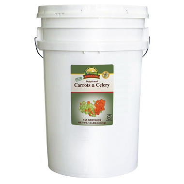 Augason Farms Dehydrated Diced Carrots and Celery Pail - 14 lbs.