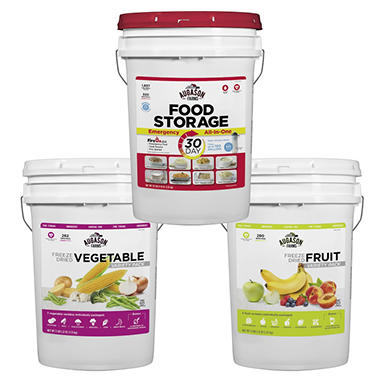 Augason Farms 3 Pail Kit, Fruit, Veggie and Emergency All-in-One