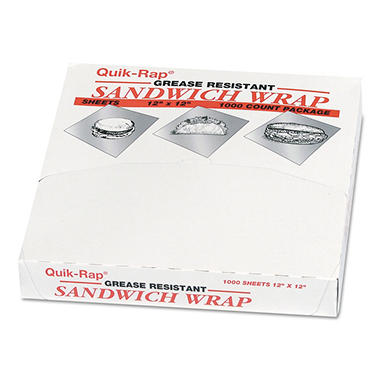 "Quik-Rap Sandwich Wraps, 12"" x 12"", 5 pks. (5,000 ct.)"