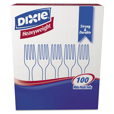 Dixie - Plastic Forks, Heavyweight, White - 100 Forks