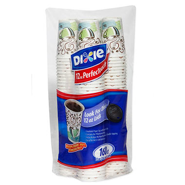 Dixie - PerfecTouch, Insulated Paper Hot Cup, 12 oz., Coffee Haze Design - 160 Cups