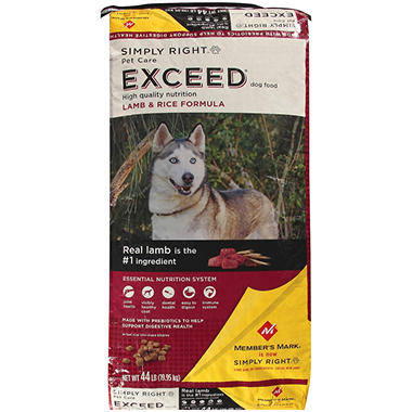 Simply Right Pet Care Exceed Lamb & Rice Formula Dog Food - 44 lbs.