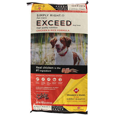 Simply Right Pet Care Exceed Chicken & Rice Formula Dog Food - 44 lbs.