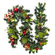 9' Traditional Prelit Garland - Red & Green