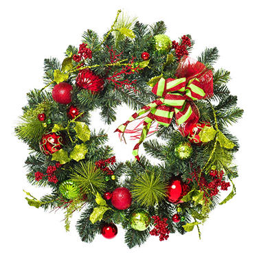 "30"" Traditional Red & Green Holiday Wreath"