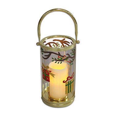 "10.5"" Glass Hurricane Lantern with Present Design"