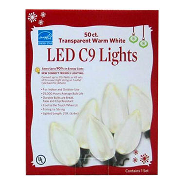 50 ct. Transparent Warm White LED C9 Lights
