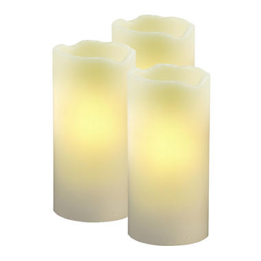 Flameless LED Pillar Candles - 3 pk.