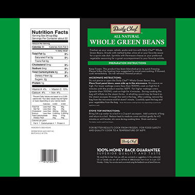 Daily Chef Steamable Whole Green Beans - 12 oz. bag - 6 ct.