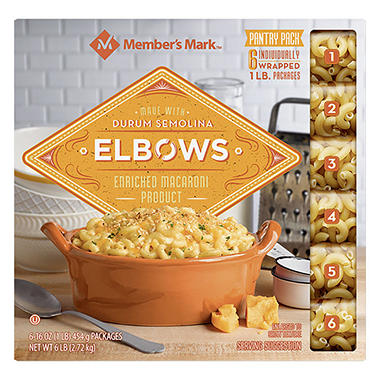 Daily Chef Elbow Macaroni Pantry Pack (1 lb. bag, 6 ct.)