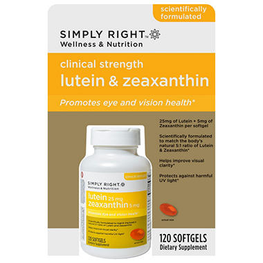 Simply Right Lutein 25mg & Zeaxanthin 5mg - 120 ct.