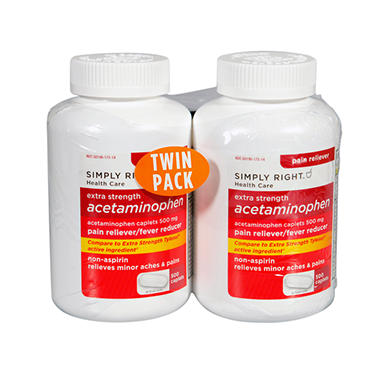Simply Right Acetaminophen - 500 ct. - 2 pk.