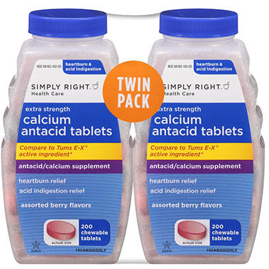 Simply Right™ Extra Strength Calcium Antacid Tablets - 200 ct. - 2 pk.