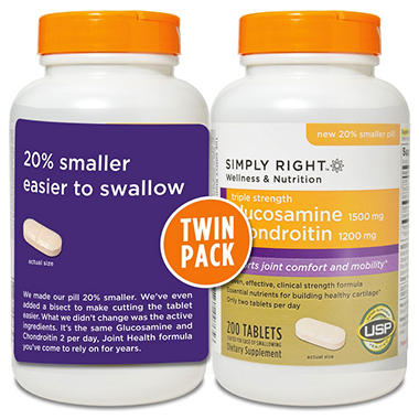 Simply Right Glucosamine Chondroitin - Triple Strength - 2 pk. - 200 ct. ea.