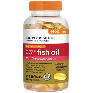 simply right triple strength fish oil 1400mg 150 ct