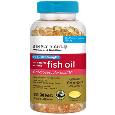 Simply Right Regular Strength Enteric Fish Oil - 350 ct.