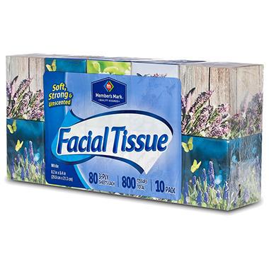Member's Mark Facial Tissue - 10 boxes - 80 ct. each