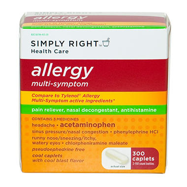 Simply Right Allergy Multi-Symptom Caplets - 300 ct.