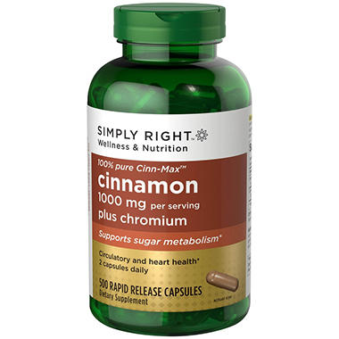 Simply Right™ Cinnamon Plus Chromium Dietary Supplement - 500 ct.