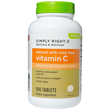 Simply Right Natural Vitamin C with Rose Hips 500mg - 500 ct.