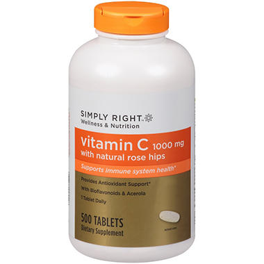 Simply Right™ Vitamin C w/Natural Rose Hips Dietary Supplement - 500 ct.