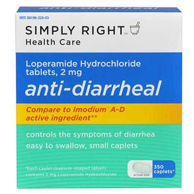 Simply Right Anti-Diarrheal Caplets - 2mg - 350 ct.