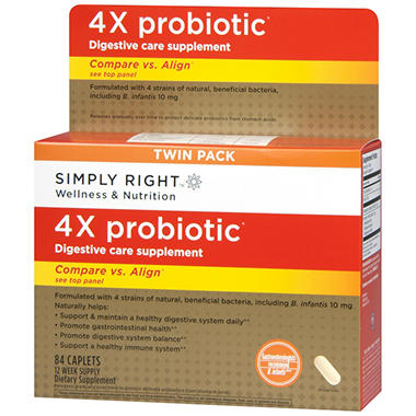 Simply Right? 4X Probiotic Digestive Care Supplement - 84 ct.