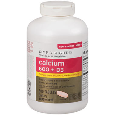 Simply Right™ Calcium 600 + D3 Dietary Supplement - 600 ct.