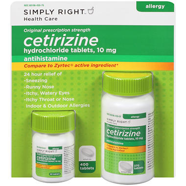 Simply Right Cetirizine Hydrochloride Antihistamine (400 ct.)