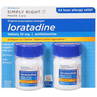 Simply Right Loratadine Antihistamine (200 ct.,2 pk)