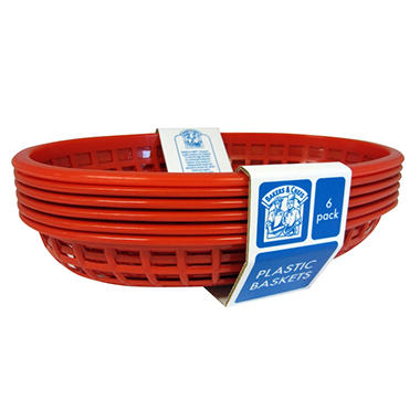 Bakers & Chefs? Red Oval Plastic Foodservice Baskets - 6 ct.