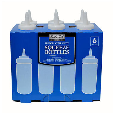 Bakers & Chefs? Translucent White Plastic Squeeze Bottles - 16 oz. - 6 pk.