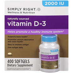 Simply Right™ Vitamin D-3 Dietary Supplement - 400 ct.